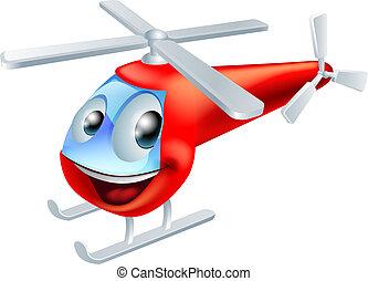 helicóptero, carácter, caricatura