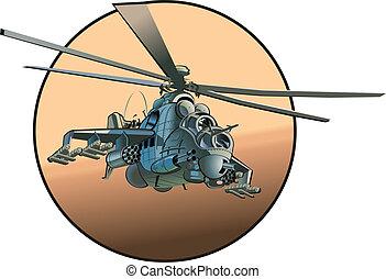 helicóptero, caricatura, exército