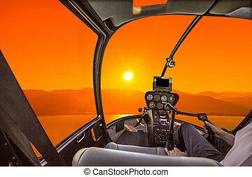 helicóptero, carlinga, en, ocaso