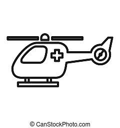 helicóptero, desenho, emergência, ilustração