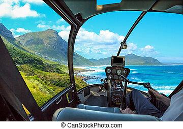 helicóptero, em, península capa