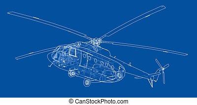 helicóptero, engenharia, desenho