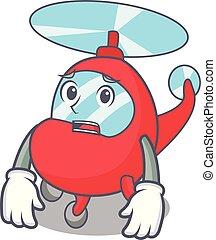 helicóptero, estilo, amedrontado, caricatura, mascote