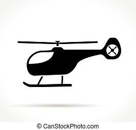 helicóptero, fundo branco, ícone