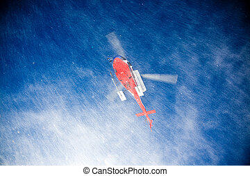helicóptero, heli, esquí