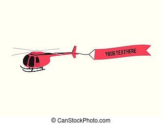 helicóptero, icon., vetorial, vermelho