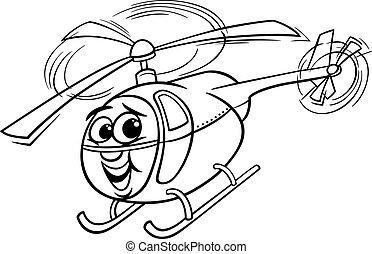 helicóptero, livro, coloração, caricatura