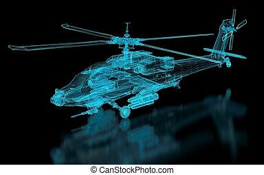 helicóptero, malha
