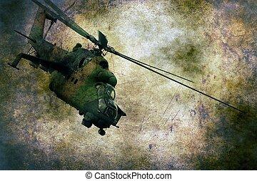 helicóptero militar, en, grunge, plano de fondo