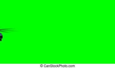 helicóptero, mosca, ligado, verde