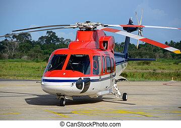 helicóptero, parque, delantal