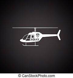 helicóptero, polícia, ícone