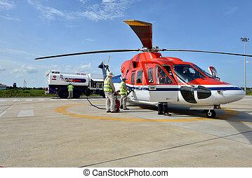 helicóptero,  refuel
