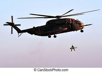 helicóptero, rescate, ejército