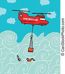 helicóptero, rescate, mar