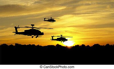 helicóptero, silhuetas