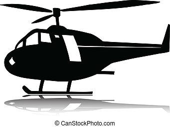 helicóptero, silhuetas, vetorial, um