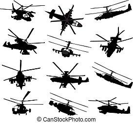 helicóptero, siluetas, conjunto