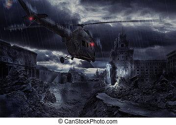 helicóptero, sobre, arruinado, cidade, durante, tempestade