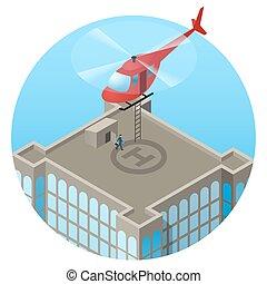 helicóptero, techo, vip, rascacielos, aterrizaje