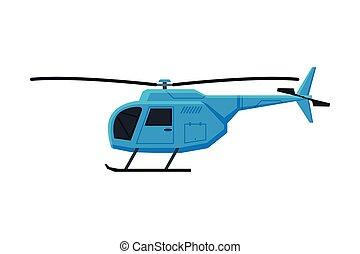 helicóptero, vetorial, ar, voando, aeronave, ilustração, apartamento, chopper, azul, transporte