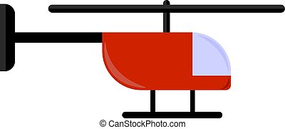 helicóptero, vetorial, branco vermelho, ilustração, experiência.