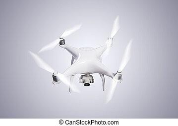 helicóptero voador, zangão, com, câmera., estúdio, tiro.