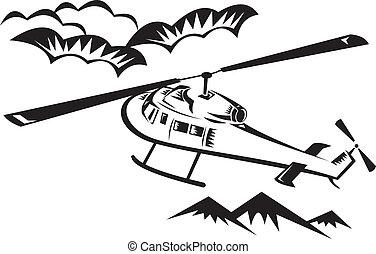 helicóptero, voando, chopper