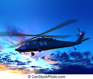 helicóptero, voando, em, noturna