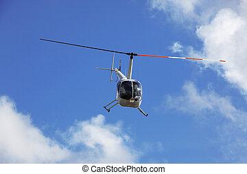 helicóptero, voando, salvamento