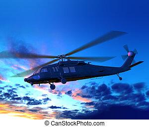 helicóptero, vuelo, en, noche