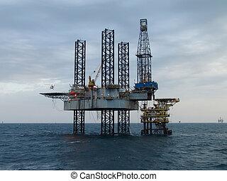 helicóptero, y, plataforma petrolera