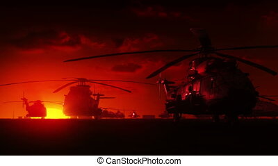 helicópteros, amanhecer