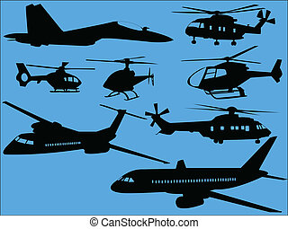 helicópteros, aviões