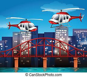 helicópteros, cerca, el, puente