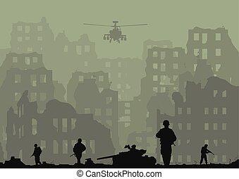 helicópteros, ciudad, estallado, ilustración, arruinado, soldiers..eps, tanques