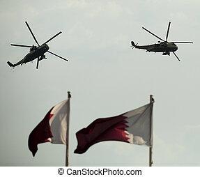 helicópteros, desfile, doha