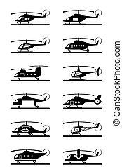 helicópteros, diferente, tipos