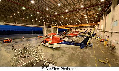 helicópteros, hangar, estacionamiento