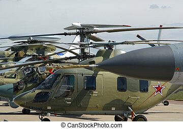 helicópteros, moderno, número, terreno, estacionamiento,...