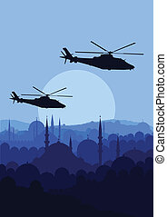 helicópteros, paisaje, plano de fondo, ejército