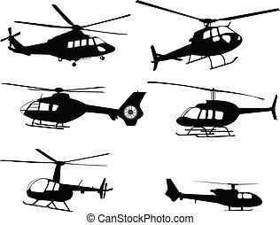 helicópteros, silhuetas