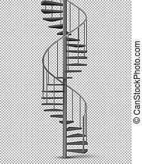 helical, gyakorlatias, spirál, lépcsőház, vektor, fém
