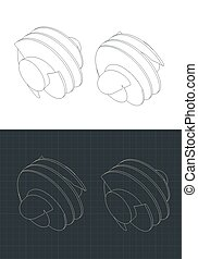 Stylized vector illustration of isometric drawings of helical inducer
