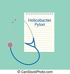 Helicobacter pylori written in a notebook- vector ...
