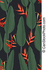 heliconia, modello, foglie, seamless, tropicale, sfondo nero