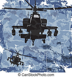 helicopter., ベクトル, グランジ, 背景, 軍隊