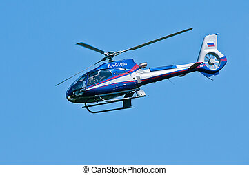 Helicopter administration of Governor - Blue helicopter...