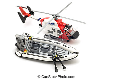 helicopter and motor boat - object on white - toy model...