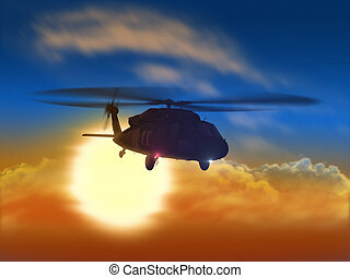 Helicopter and sunset - Render of helicopter flying from the...